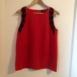 Coral tank top with black lace | The Limited